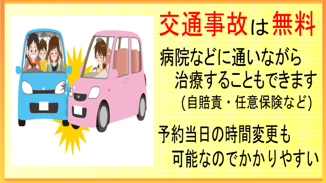 「交通事故のケガに対応」しています。