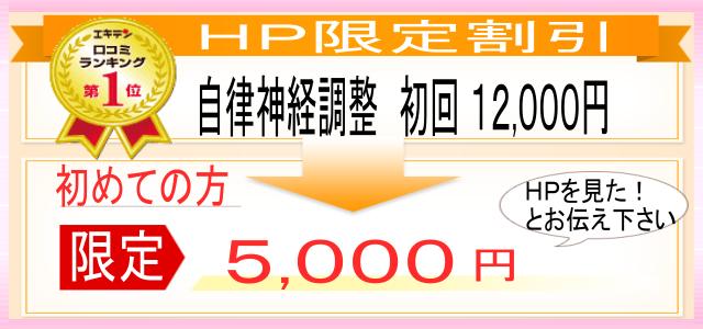HP限定割引! 自律神経調整 初回 12000円 初めての方限定で、5000円です。 HPを見たとお伝えください。