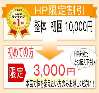 ホームページ限定割引。整体初回10000円。初めての方限定で「HPを見た!」とお伝えいただくと、3000円でかかれます。本気で体を変えたい方のみお越しください。