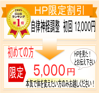 ホームページ限定割引。自律神経調整初回12000円。初めての方限定で「HPを見た!」とお伝えいただくと、5000円でかかれます。本気で体を変えたい方のみお越しください。