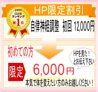ホームページ限定割引。自律神経調整初回12000円。初めての方限定で「HPを見た!」とお伝えいただくと、6000円でかかれます。本気で体を変えたい方のみお越しください。
