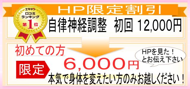 HP限定割引! 自律神経調整 初回 12000円 初めての方限定で、6000円です。 「HPを見た」とお伝えください。 本気で体を変えたい方のみお越しください!