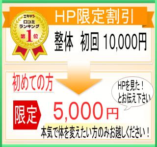 「整体」ホームページ限定割引。初回10000円が、初めての方限定で「HPを見た!」とお伝えいただくと、5000円でかかれます。本気で体を変えたい方のみお越しください。