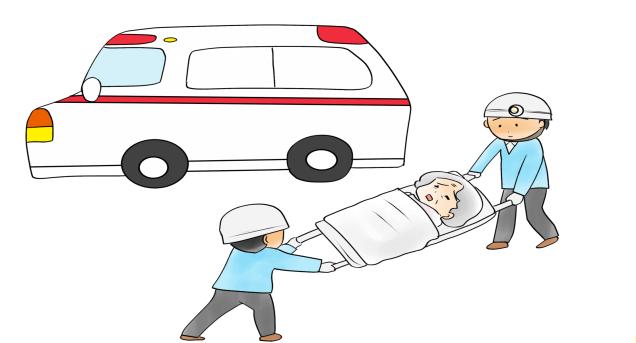 救急車で搬送する画像です。