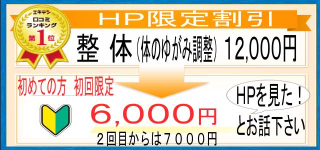 足利 なごみ整骨院では、整体初回12000円が、HP初回割引で6000です。